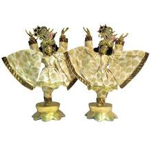 Gaura Nitai Deity Clothes -- Printed Leaves All Over