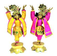 Gaura Nitai Deity Clothes -- Silk Look with Contrasting Colors