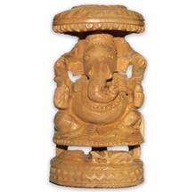 Hand-Carved Wood Ganesh Figure