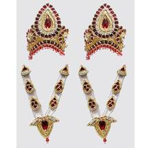 Crown and Necklace Set -- Red Stones with Gold and Diamond Look (pair)