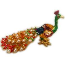 """Colorful Peacock with Pearls (6\"""" length)"""