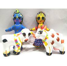 Radha Krishna with Cow and Calf Dolls -- Childrens Stuffed Toy