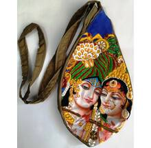 Krishna the Butter Theif Digitally Printed Bead Bag with Embroidery
