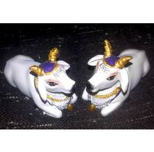"Cute Krishna\'s Cows White 2.5"" size (Set of 2)"