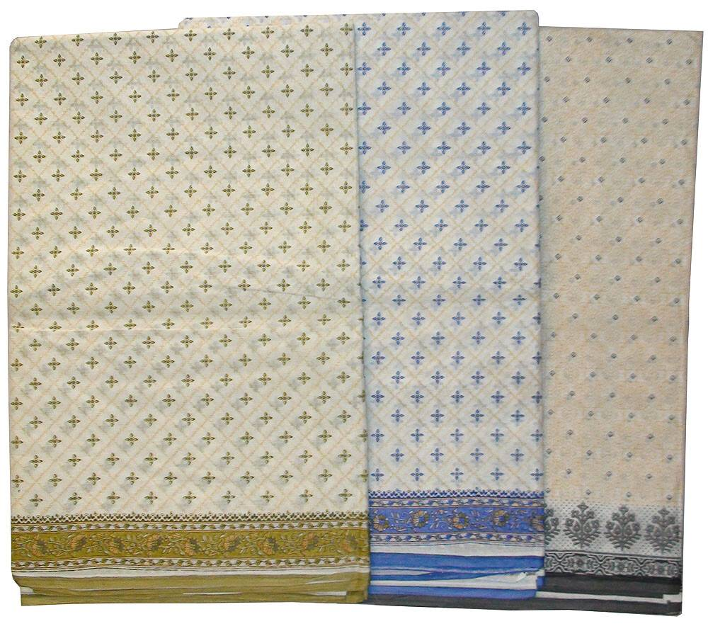Cotton Printed Sari - Nice Pattern on a light background