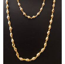 Gold Plated Silver Tulsi Necklace - Small Beads