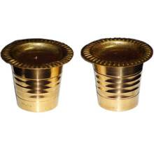 """Pair of Brass Cups with Cover (1.5\"""")"""